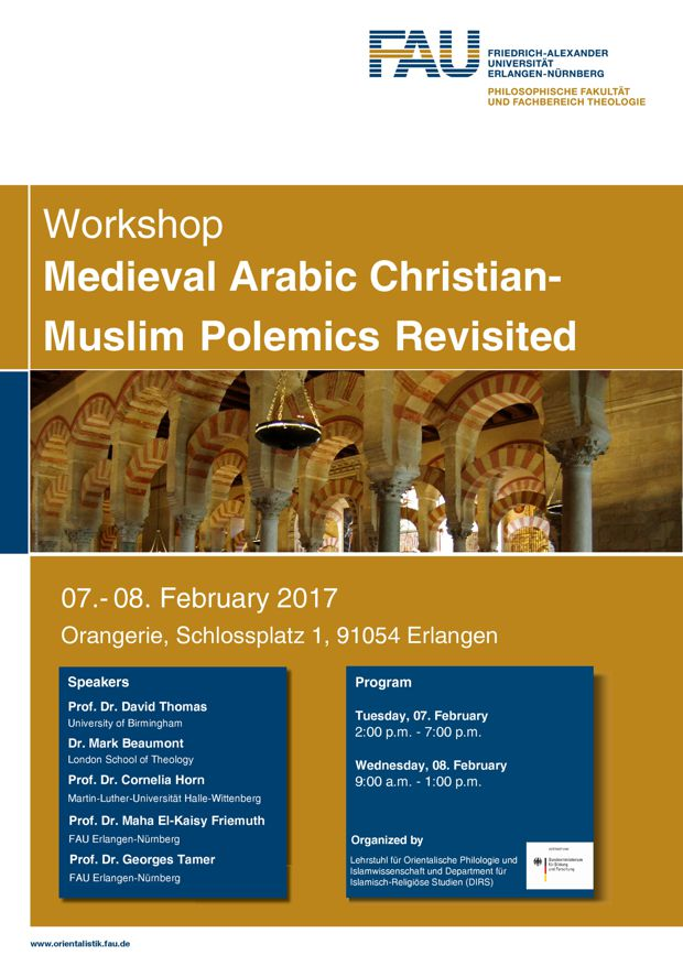 "Zum Artikel ""Workshop ""Medieval Arabic Christian-Muslim Polemics Revisited"""""